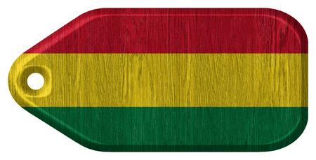 bandera de bolivia: Bolivia bandera pintada en la etiqueta de madera