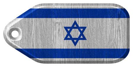 Israel flag painted on wooden tag Zdjęcie Seryjne