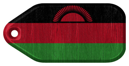 malawian: Malawi flag painted on wooden tag Stock Photo