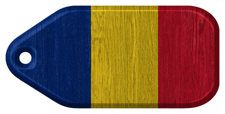 Romania flag painted on wooden tag photo