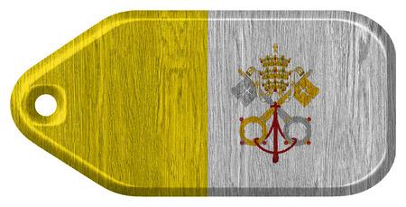 ciudad del vaticano: Ciudad del Vaticano bandera pintada en la etiqueta de madera
