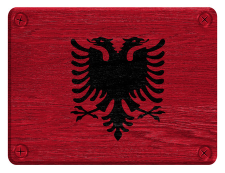 albanian: Albanian flag painted on wooden tag Stock Photo