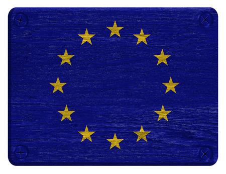 Eu, European Union flag painted on wooden tag