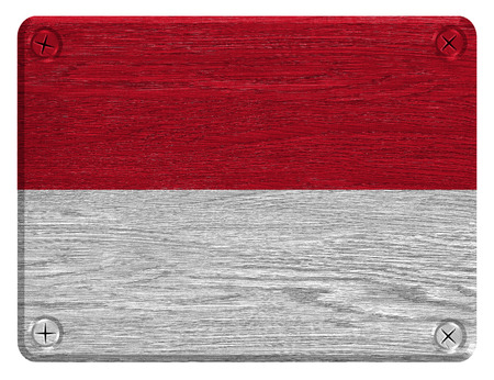Monaco flag painted on wooden tag