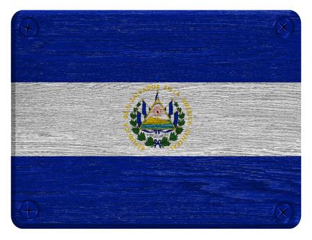 bandera de el salvador: Bandera de El Salvador pintado en la etiqueta de madera