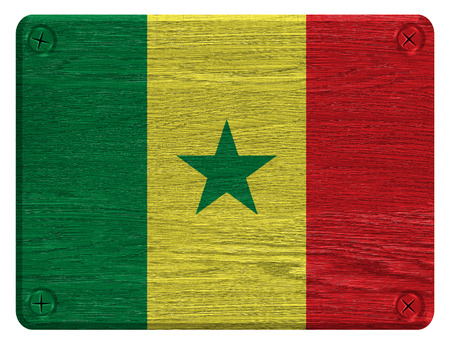 Senegal flag painted on wooden tag