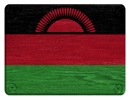 Malawi flag painted on wooden tag Stock Photo