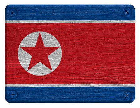 North Korea flag painted on wooden tag