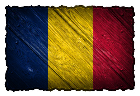 chadian: Chad flag painted on wooden tag Stock Photo