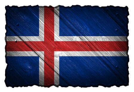 flag of iceland: Islandia bandera pintada en la etiqueta de madera