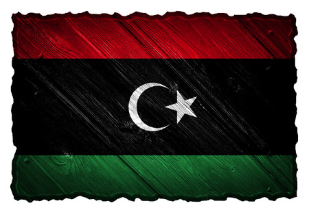 Libya flag painted on wooden tag Stock Photo
