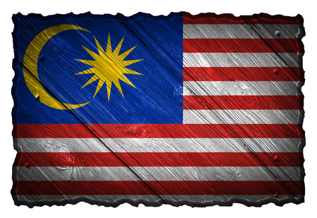 Malaysia flag painted on wooden tag Stock Photo