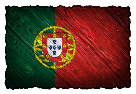 Portugal flag painted on wooden tag photo
