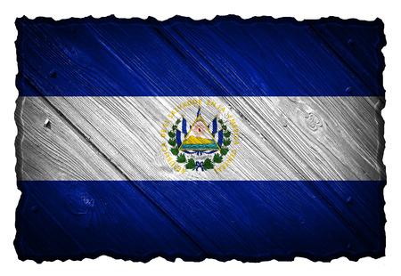 el salvador: El Salvador flag painted on wooden tag Stock Photo