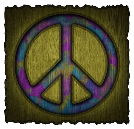 Peace symbol on a wooden signs photo