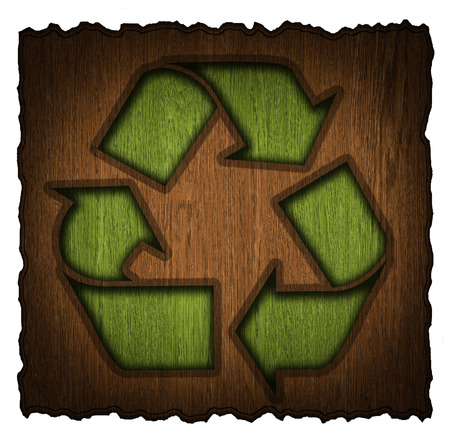 recycling symbol on a wooden shield isolated on white background photo