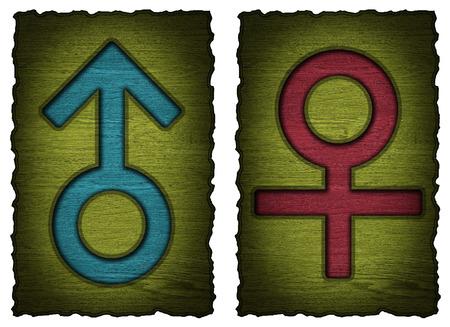 Men, women wooden Door Signs isolated  photo