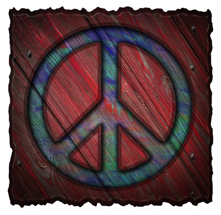 Peace symbol on a wooden signs