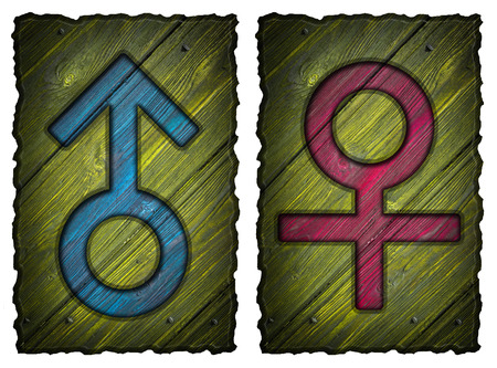 Men, women wooden Door Signs isolated on white background photo