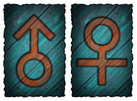 mannen en vrouwen: Mannen, vrouwen houten deur tekenen geïsoleerd op wit