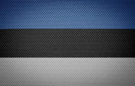estonian: Estonian fabric flags Stock Photo