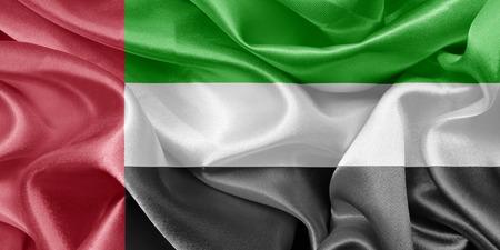 emirates: United Arab Emirates satin flag Stock Photo