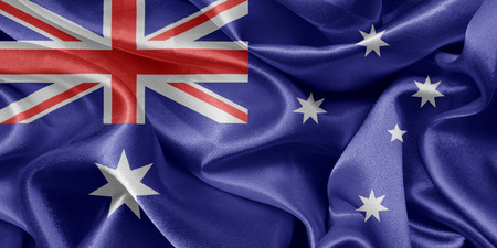 satin Australian flag fluttering in the wind