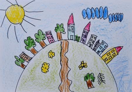 Kinderzeichnung Stadt