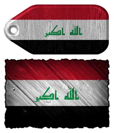 iraq flag: Iraq Flag painted on wood tag Stock Photo