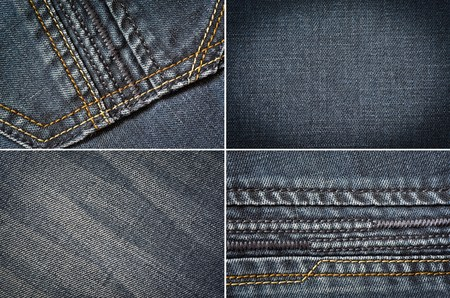 stapled: denim fabric in the background Stock Photo
