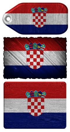bandera de croacia: Croacia bandera pintada en la etiqueta de madera