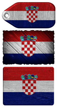 old flag: Croatia flag painted on wooden tag Stock Photo