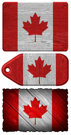 canadian state flag: Canada Flag painted on wood tag