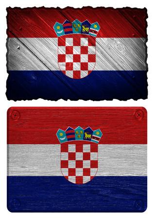 bandera croacia: Croatia flag painted on wooden tag Foto de archivo