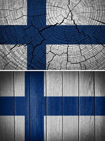 bandera de finlandia: Finland Flag painted on wood background