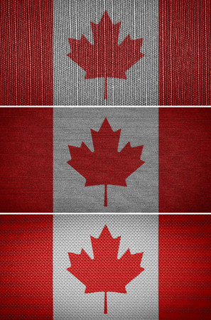 canadian state flag: Canadian fabric flags in the background Stock Photo