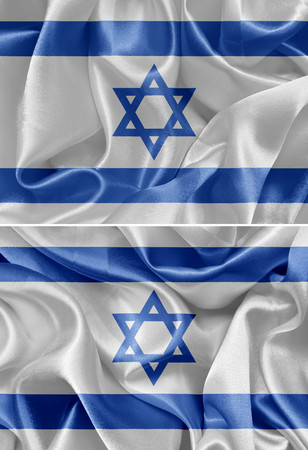 israeli: Israeli satin flag, set Stock Photo