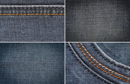 plain stitch: denim fabric in the background Stock Photo