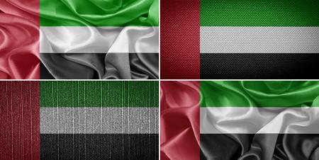 emirates: United Arab Emirates fabric flags, set Stock Photo