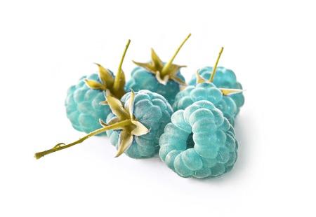 summaries: Blue raspberry isolated on white background