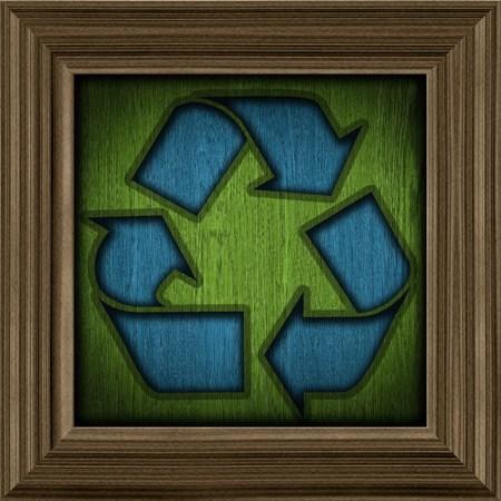 simbol: riciclaggio simbolo su un telaio di legno
