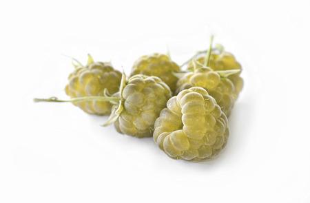 summaries: yellow raspberry isolated on white background