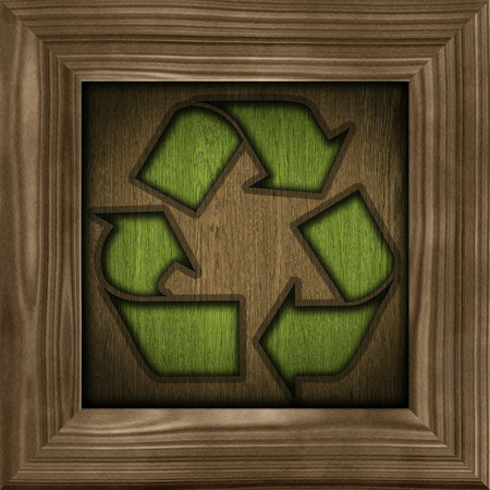 simbol: recycling simbol on a wooden frame