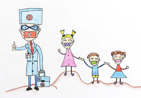 Child's drawing, family in medical mask is quarantined. Epidemic. Coronavirus. Protecting people from the virus.