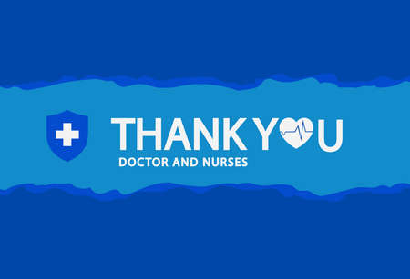 Thank You doctor and nurses text with shield protection symbol and heart on blue background