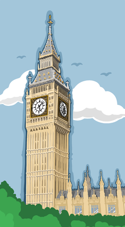 London Big Ben Hand Drawn Style Ilustration