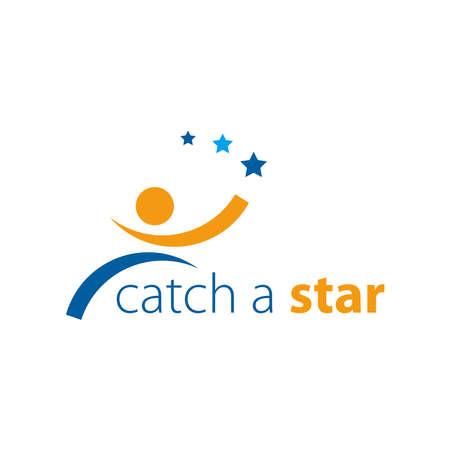 Catch The Star Logo Vector. Reach Your Dream