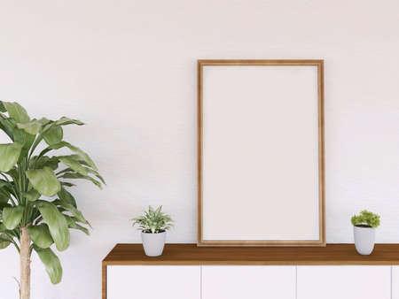 Blank Photo Frame Mockup on the desk. 3D Illustration, 3D rendering. Reklamní fotografie