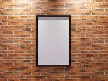 Photo Frame Mockup on The Brick Wall. 3D illustration, 3D Rendering.