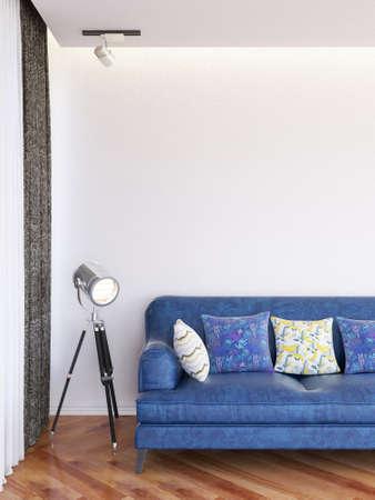 Interior Living Room Wall Mockup. 3D rendering.
